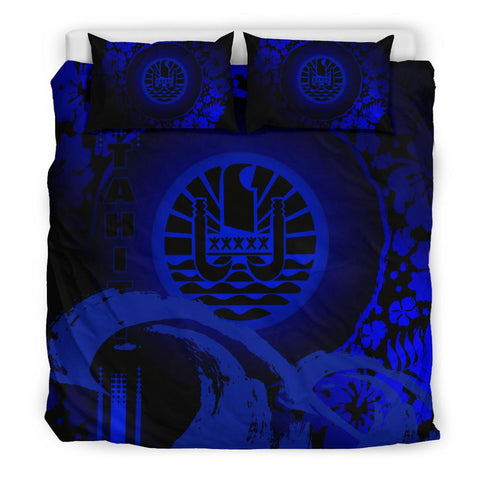 Image of Tahiti Bedding Set - Hibiscus And Wave Blue K6