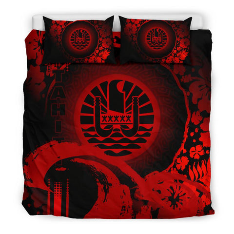 Image of Tahiti Bedding Set - Hibiscus And Wave Red K6