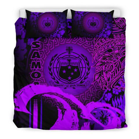 Image of Samoa Bedding Set - Hibiscus And Wave Purple K6