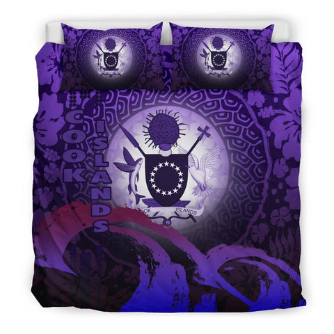Cook Islands Bedding Set - Wave and Hibiscus Purple K62