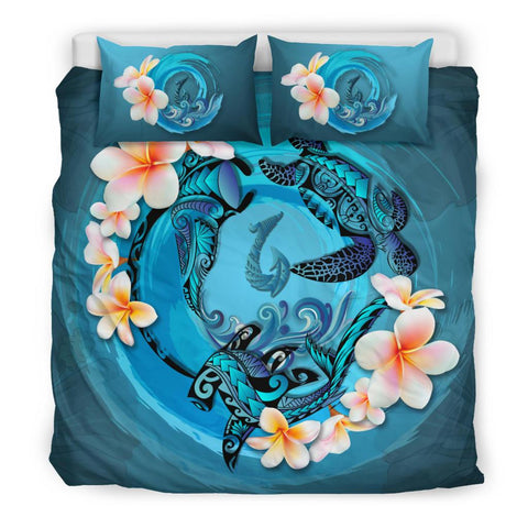 Image of Polynesian Duvet Cover Set Polynesia Bedding Set Blue Plumeria Animal Tattoo