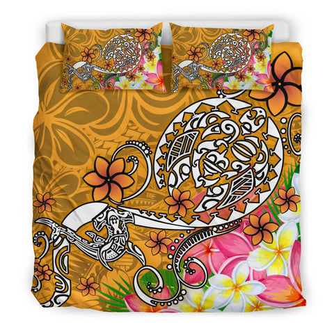 Polynesian Bedding Set - Turtle Plumeria Gold Color - BN18