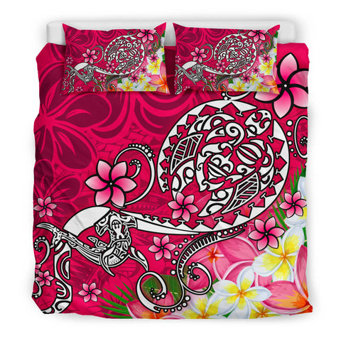Polynesian Bedding Set - Turtle Plumeria Pink Color - BN18