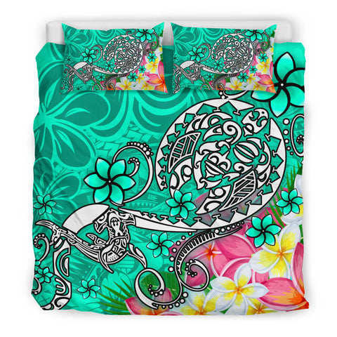 Polynesian Bedding Set - Turtle Plumeria Turquoise Color - BN18