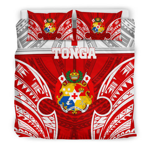 Polynesian Bedding Set - Tonga Duvet Cover Set - Pattern With Seal Red Version - BN12