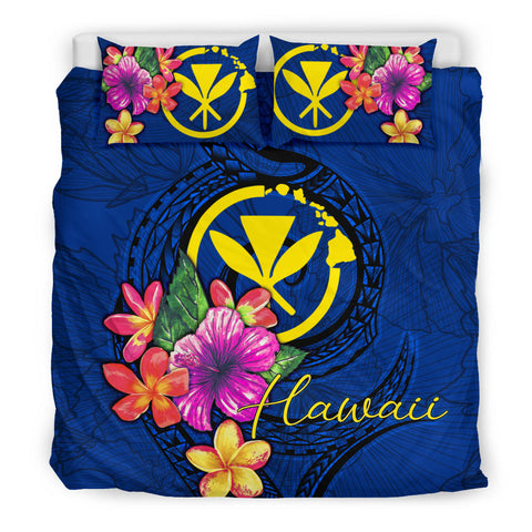 Polynesian Bedding Set - Hawaii Duvet Cover Set Floral With Seal Blue - BN12