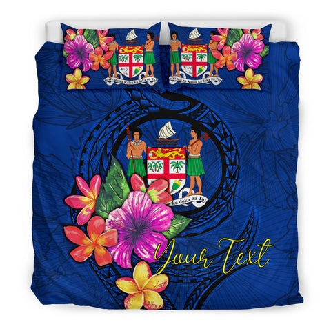 Polynesian Custom Personalised Bedding Set - Fiji Duvet Cover Set Floral With Seal Blue - BN12