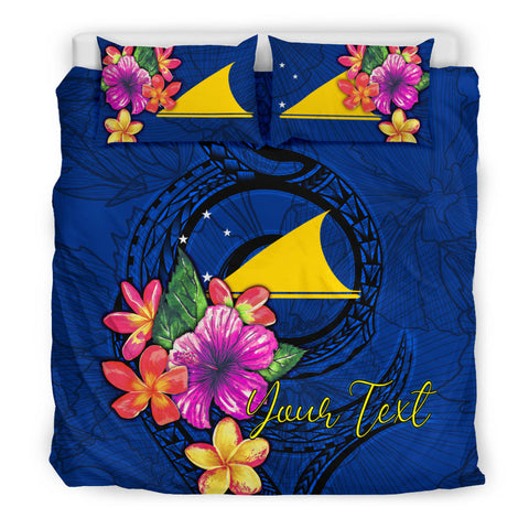 Polynesian Custom Personalised Bedding Set - Tokelau Duvet Cover Set Floral With Seal Blue - BN12