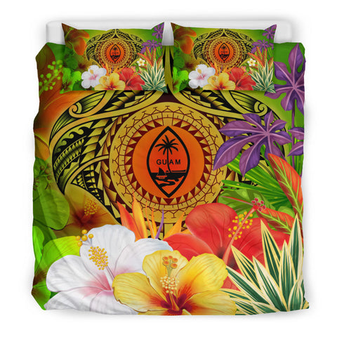Guam Polynesian Bedding Set - Manta Ray Tropical Flowers (Reggae)