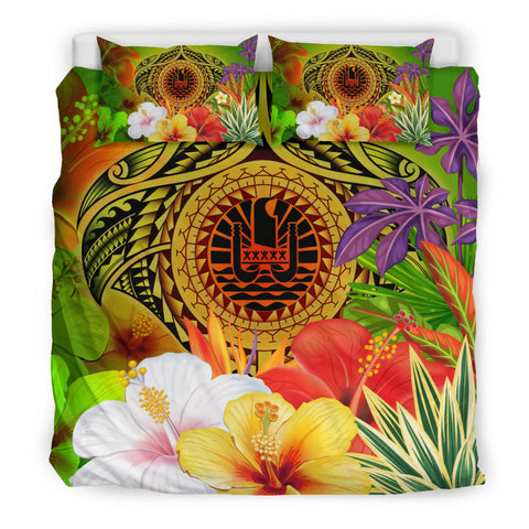 Image of Tahiti Polynesian Bedding Set - Manta Ray Tropical Flowers (Reggae)