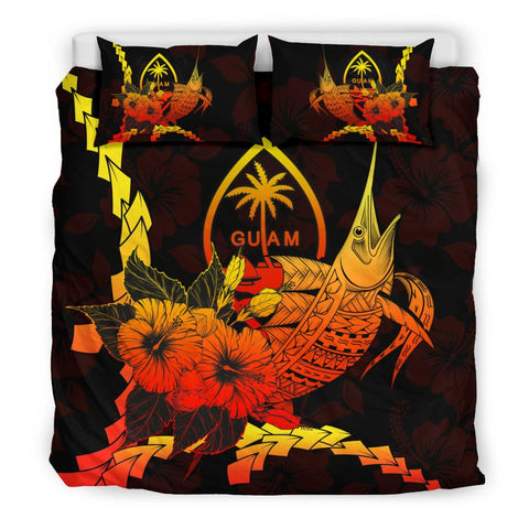 Image of Guam Polynesian Bedding Set - Swordfish With Hibiscus - BN12