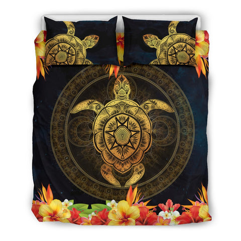 Fiji Hibiscus Turtle Golden Bedding Set
