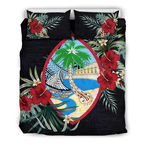 Image of Guam Hibiscus Coat Of Arms Duvet Cover Set Twin