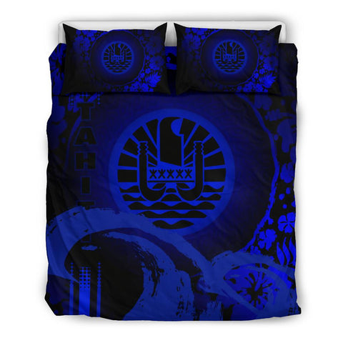 Image of Tahiti Bedding Set - Hibiscus And Wave Blue