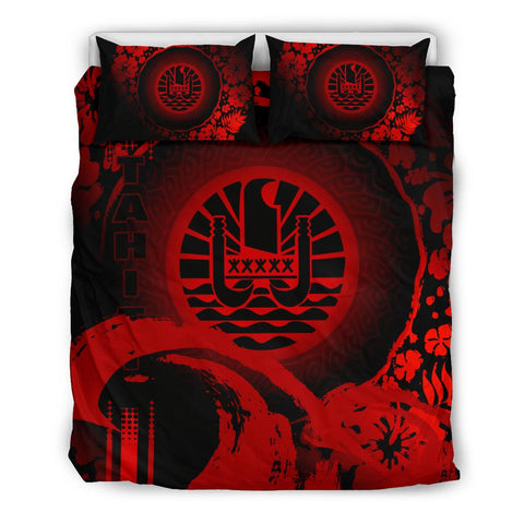 Image of Tahiti Bedding Set - Hibiscus And Wave Red