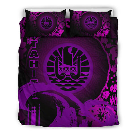 Image of Tahiti Bedding Set - Hibiscus And Wave Purple