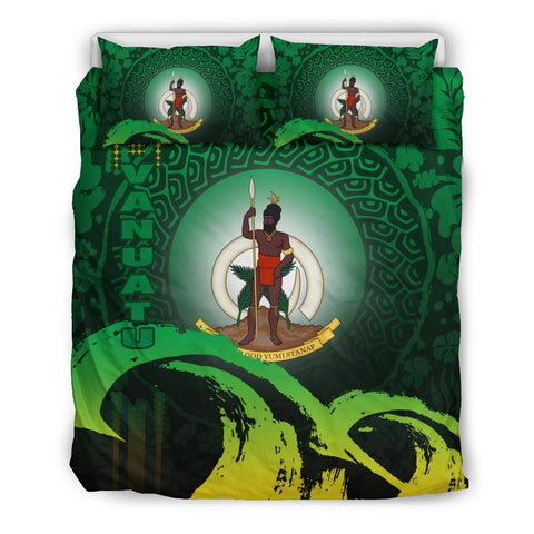 Vanuatu Bedding Set - Wave and Hibiscus Green