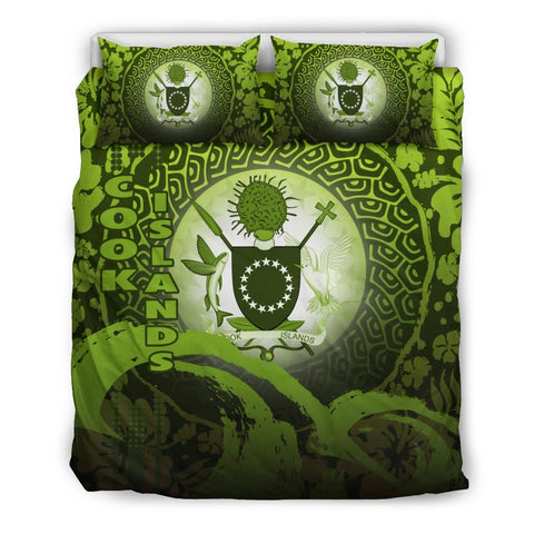 Cook Islands Bedding Set - Wave and Hibiscus Green