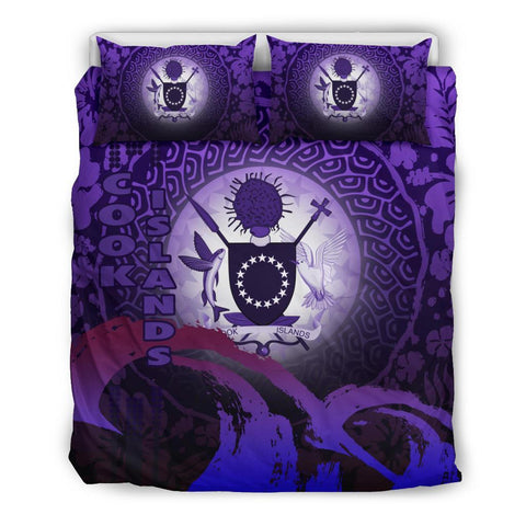 Cook Islands Bedding Set - Wave and Hibiscus Purple