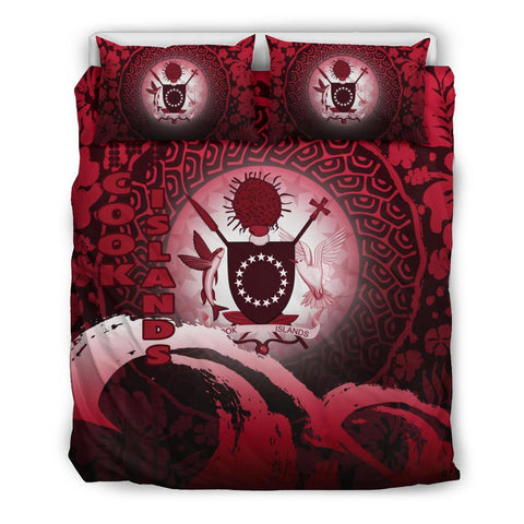 Cook Islands Bedding Set - Wave and Hibiscus Red