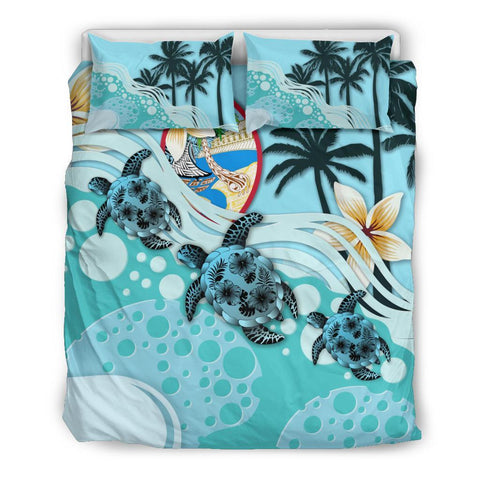Guam Bedding Set - Blue Turtle Hibiscus A24