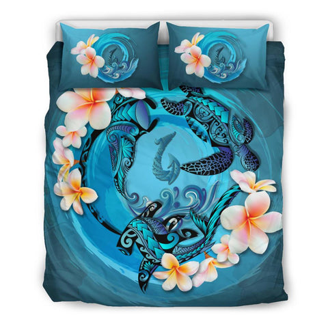 Polynesia Bedding Set - Blue Plumeria Animal Tattoo A24