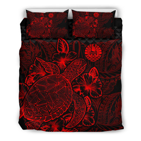 Polynesian Bedding Set - Tahiti Duvet Cover Set Red Color - BN39