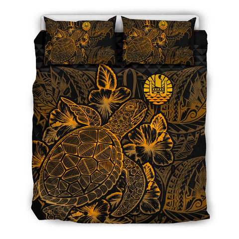 Image of Polynesian Bedding Set - Tahiti Duvet Cover Set Gold Color - BN39