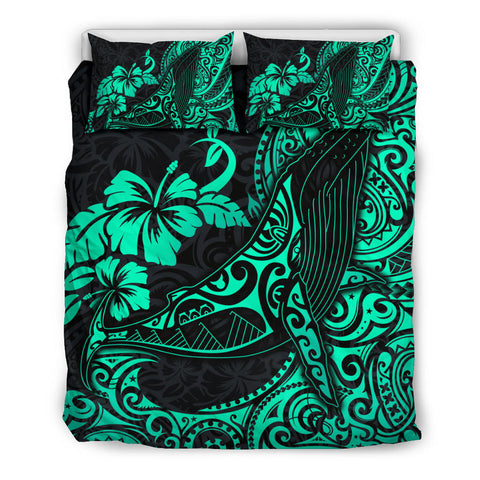 Image of Polynesian Bedding Set - Hawaii Polynesian Duvet Cover Turquoise Humpback Whale