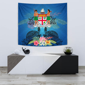 E by design Hibiscus Blooms Floral Print Tapestry 50 x 60 Blue