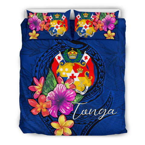 Polynesian Bedding Set - Tonga Duvet Cover Set Floral With Seal Blue - BN12