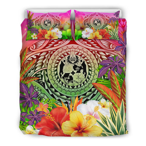 Tonga Polynesian Bedding Set - Manta Ray Tropical Flowers