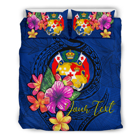 Image of Polynesian Custom Personalised Bedding Set - Tonga Duvet Cover Set Floral With Seal Blue - BN12
