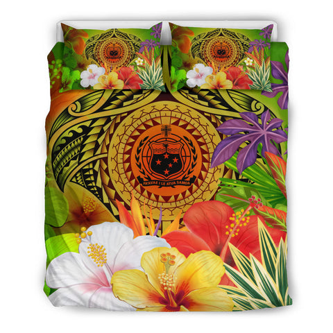 Image of Samoa Polynesian Bedding Set - Manta Ray Tropical Flowers (Reggae)