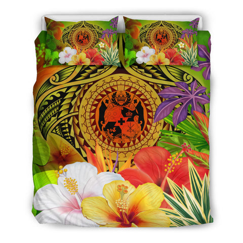 Image of Tonga Polynesian Bedding Set - Manta Ray Tropical Flowers (Reggae)