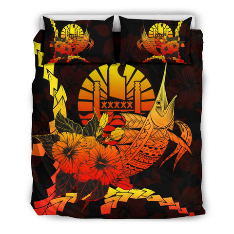 Image of Tahiti Polynesian Bedding Set - Swordfish With Hibiscus - BN12