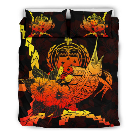Samoa Polynesian Bedding Set - Swordfish With Hibiscus - BN12