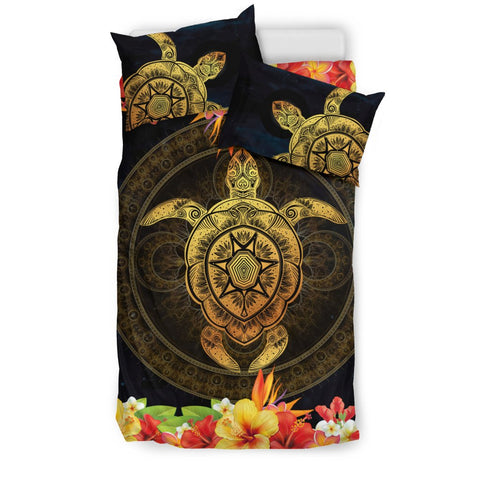 Fiji Hibiscus Turtle Golden Bedding Set Nn6