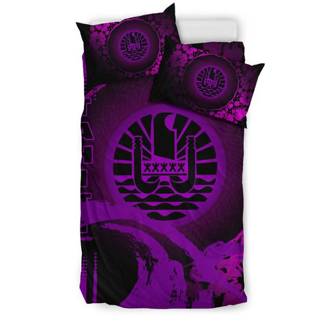 Image of Tahiti Bedding Set - Hibiscus And Wave Purple K6