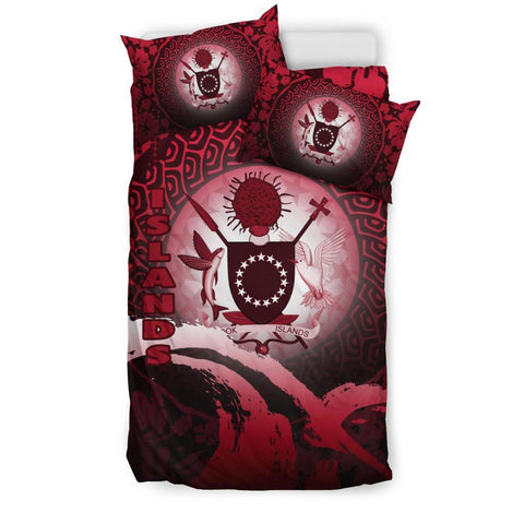 Cook Islands Bedding Set - Wave and Hibiscus Red K62