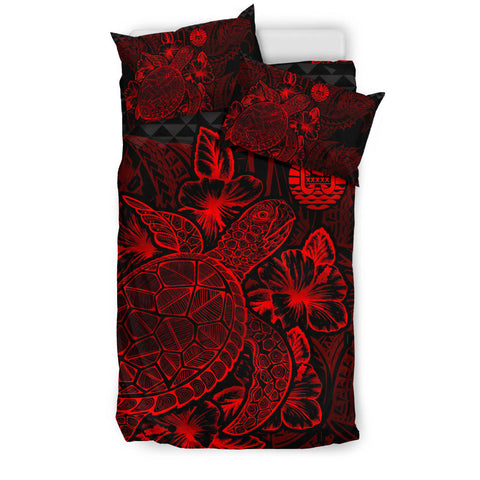 Image of Polynesian Bedding Set - Tahiti Duvet Cover Set Red Color