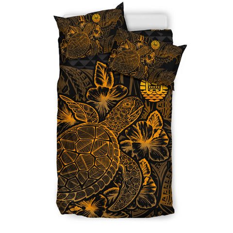 Image of Polynesian Bedding Set - Tahiti Duvet Cover Set Gold Color