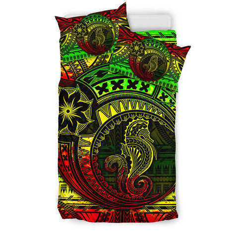 Image of Seahorse Polynesian Bedding Set - Polynesian Tattoo Reggae