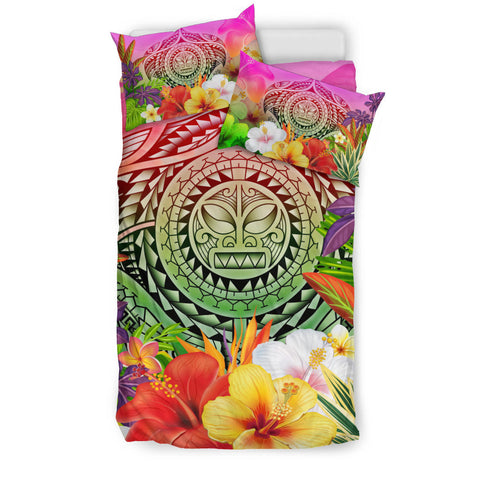 Polynesian Bedding Set - Manta Ray Tropical Flowers