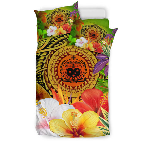 Samoa Polynesian Bedding Set - Manta Ray Tropical Flowers (Reggae)