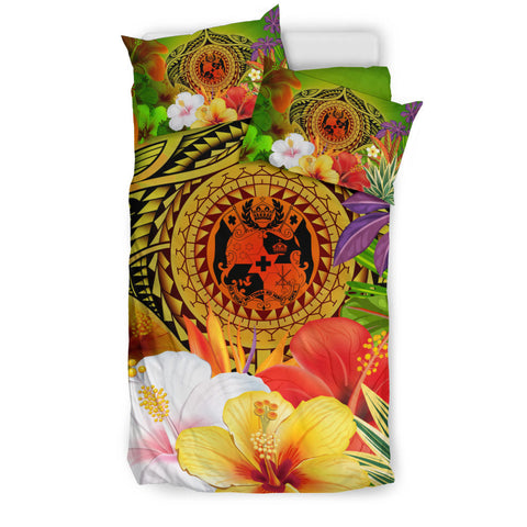 Tonga Polynesian Bedding Set - Manta Ray Tropical Flowers (Reggae)