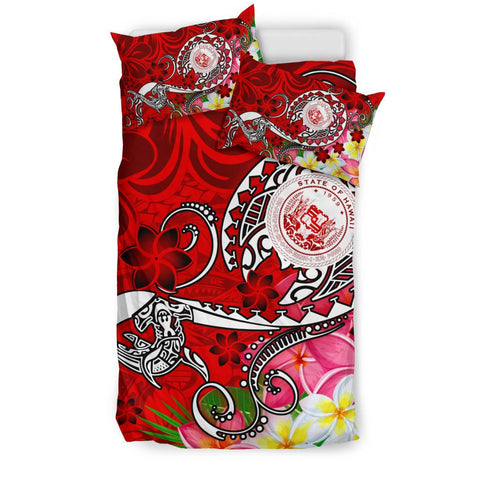 Image of Hawaii Polynesian Bedding Set - Hawaii Seal With Turtle Plumeria (Red)