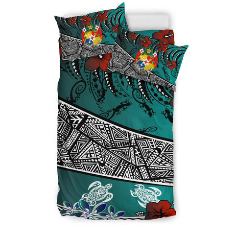 Image of Tonga Polynesian Bedding Set - Lizard And Turtle Green - BN20