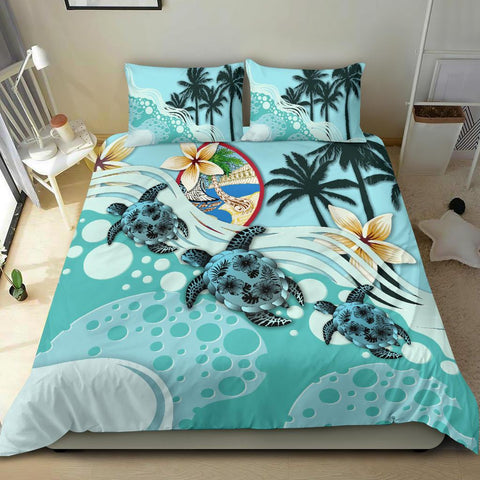 Image of Guam Bedding Set - Blue Turtle Hibiscus A24