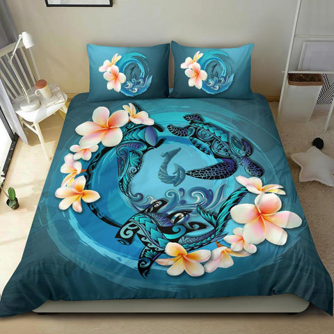 Polynesian Duvet Cover Set Polynesia Bedding Set Blue Plumeria Animal Tattoo - A24